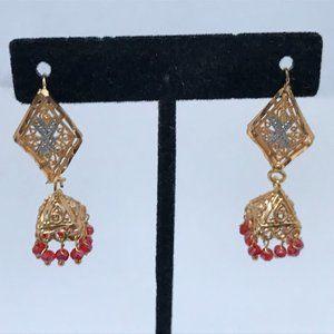Earrings Women Jhumka Gold/Silver tone Fashion Red